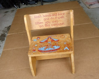 vintage step stool wooden chair combo kids/childs furniture,with carousel decor,old school bench seat