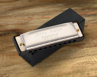 Personalized Harmonica - Stainless Steel Harmonica - Ring Bearer Gift