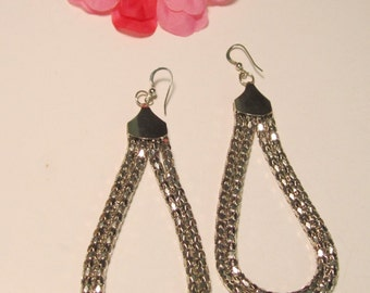 Silvertone 4 Inch Long Dangle Earrings for Pierced Ears   (#442)