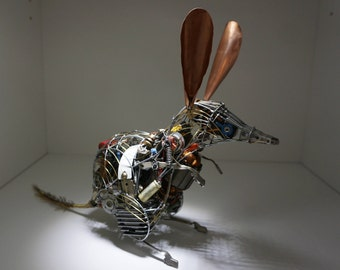 Wonderful Bilby metal art sculpture using recycled, reused and rare parts. Steampunk figure. Great original gift
