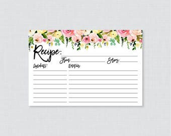 Pink and Yellow Floral Bridal Shower Recipe Cards - Printable Recipe Card and Invitation Insert Modern Floral Recipe Cards 0031-A