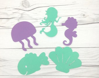 5 pcs Under The Sea Die Cuts, Mermaid Die Cuts, Mermaid Wall Decor, Mermaid Party, Under The Sea Party