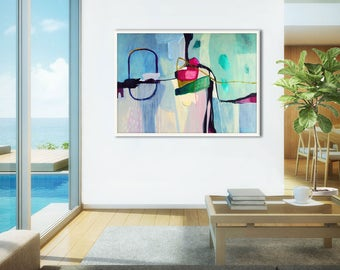 Extra large abstract painting print, blue contemporary abstract print, large blue abstract print, abstract canvas art print,  Dreamy Jam