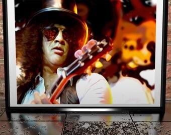 Slash - Guns N Roses - Velvet Revolver - Painting Poster Print - Slash Art - Slash Illustration - Slash Poser - Slash Painting Poster Art