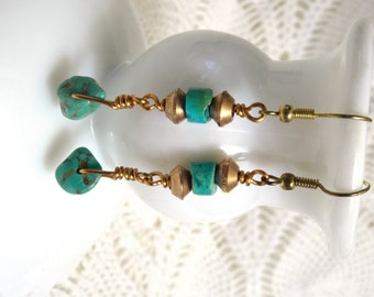 Genuine turquoise and copper earrings, OOAK