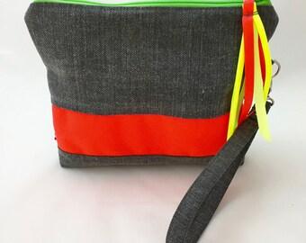 Neon Clutch. Grey canvas fluorescent orange stripe.Handle clutch purse.Fun pop neon pouch.Neon orange and grey cotton and linen zipper pouch