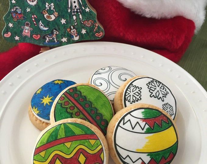 Paint Your Own Edible Christmas Ornament Cupcake, Cookie or Oreo Toppers, Coloring Sheet - Wafer Paper or Frosting Sheet