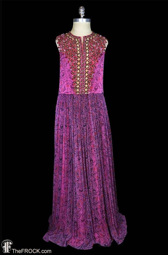 Pauline Trigere 1960s evening dress heavily beaded jeweled