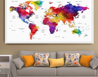 World map push pin Wall Art Print Poster LARGE pushpin travel map Watercolor Wall Decor Wedding - Anniversary Gift Map Art (L70)