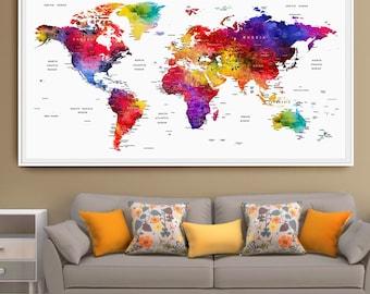 carte du monde etsy. Black Bedroom Furniture Sets. Home Design Ideas
