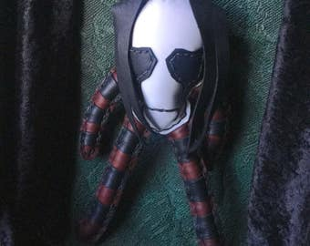 Leather Skull Doll in maroon and black