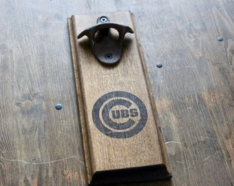 Chicago Cubs Gift  Wall Mount Rustic Bottle Opener - Your Team! Valentine's Gift
