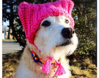 Pink cat hat for dog, dog pussy hat, women's rights hat, pussy cat hat, feminist hat, crochet hat for dog, crochet pussy cat hat, dog hat