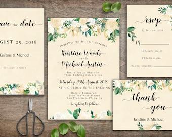 Wedding Invitation Template Floral, Wedding Invitations, Printable Wedding, Floral Wedding Invitation, Wedding Invitation, Elegant Wedding