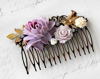 Flower Hair Comb - Boho Wedding Hair Comb - Bridal Floral Hair Comb - Hair Comb for the Bride - Romantic Bridal Hair Piece -Floral Hair Clip