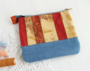 Makeup bag Trend colors Boho bag for women bag Denim bag pouch Patchwork bag Women fashion Ethnic pouch Yellow Red pouch Women gift