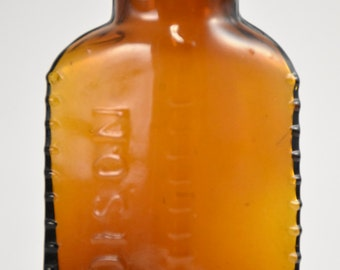 Amber Poison Bottle - Ribbed, Early 1900s