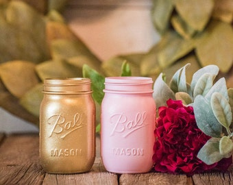 Pink and Gold Baby Shower Decor Centerpiece Mason Jar Wedding Modern Vase
