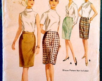 "Vintage 1960's quick 'n easy slim skirt with waistband or no waistband sewing pattern - Butterick 3882 - size 28"" waist, 38"" hip - 1960s"
