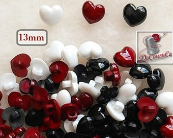 BF46, 6 buttons, 13mm, heart, vintage, white, red, black