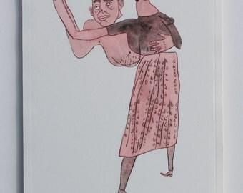 Waltz (Handcoloured Drypoint Etching, 2014)