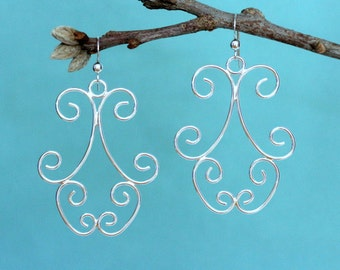 Sterling Silver Chandelier Earrings, Sterling Silver Wire Earrings, Silver Swirl Earrings, Silver Dangle Earrings, Long Silver Earrings