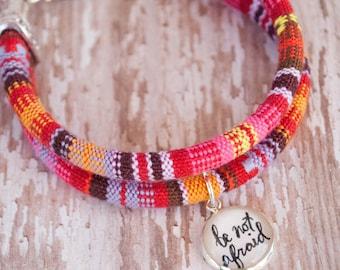 Be Not Afraid Ethnic Cord Bracelet, Be Brave Bracelet, Christian Be Brave Little One Layer Bracelet, Pink Catholic Boho Bracelet, 602004