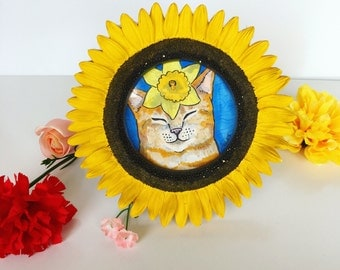 Flower Cat framed original art