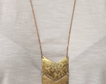 Hand-cut gold chevron necklace, double chevron necklace, statement necklace