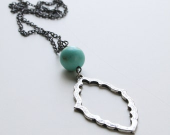 Long Circular Turqiouse Colored Semi-Precious Stone and Diamond Shaped Pendant Necklace with Hematite Colored Chain