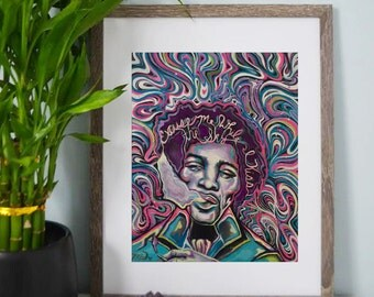 Jimi Hendrix - Colorful, Psychedelic Artwork - Art Prints - Wall Art - Poster