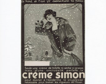 Creme Simon, 1920s vintage French advert, original b&w mounted print