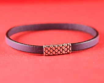 5A/6 MADE in EUROPE 5mm flat cord zamak magnetic clasp , snake skin magnetic clasp, 5mm cord clasp, zamak clasp (TM5X2SK) Qty1