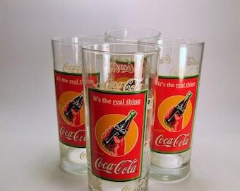Coca Cola Glasses, Vintage Collectible Coca Cola Glasses, Rare 4 Retro Coca Cola, Large Coca Cola Glasses, 16 ounce Glasses,Vintage Bar Ware