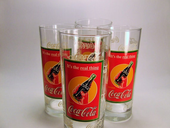 Vintage Coca Cola Glasses, Vintage Collectible Coca Cola Glasses, Rare 4 Retro Coca Cola, Large Coca Cola Glasses, 16 ounce Glasses,Bar Ware