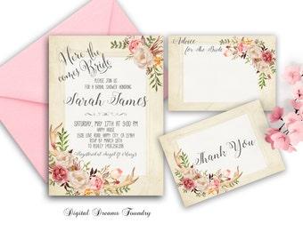 Rustic Bridal Shower Invitation Printable Floral Bridal Shower Invitation Antler Bridal Shower Boho Bridal Invitation Blush Pink Floral