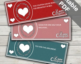 Valentine's Day Coupons. Love Coupons for Him or Her. Editable/Printable. Instant Download.