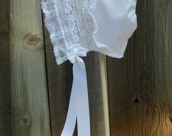 Baby Bonnet - Heirloom Style - sz 3-6 mo.