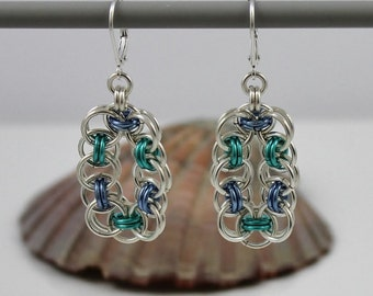 Silver Plated Chainmaille Earrings, Blue Earrings, Turquoise Earrings, Silver Earrings, Silver Plated Earrings, Chain Mail Earrings