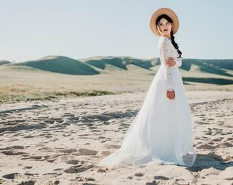 Long Sleeve Wedding Dress, Beautiful Lace Long Sleeve Wedding Dress, with Silk Chiffon and Soft English Tulle Skirt - Zoey Dress