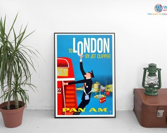 Visit London -  Vintage Travel Poster - Digitally restored  print / art / poster