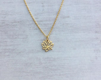Gold Lotus Flower Necklace/Gold Vermeil/Gold Filled/Gold/Everyday Wear/Long & Layered/Lotus Symbol/Gift/UK/Jewellery