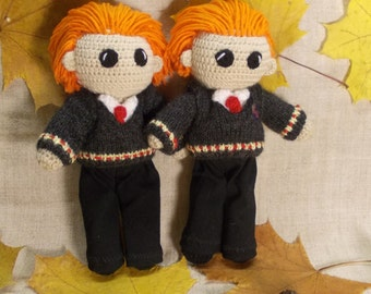 Fred and George Weasley Crochet Doll Portrait doll Personalized gift  Hogwarts teenage gift Harry Potter Witchcraft Wizardry MADE TO ORDER