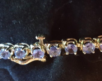 14kt Yellow Gold Natural Tanzanite Tennis Bracelet with Safety Clasp!!