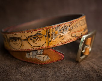 Leather belt Custom hand tooled Breaking Bad Heisenberg