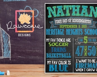 Boys First Day of School Chalkboard Sign - ANY GRADE - Totally Customizable 24HR turnaround