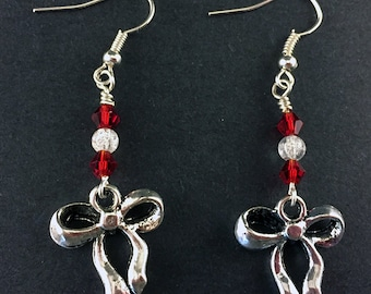 Antique Silver Ribbon and Bow Earrings with Red and Clear Swarovski Crystals, Festive Holiday Jewelry, Simple Silver and Red Ribbon Earrings