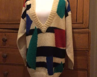 Vintage 80's mohair sweater geometric print