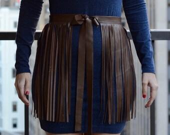 Genuine Leather Fringe Belt, Brown Leather Tassel Belt, Brown Leather Belt, Leather Fringe Skirt, Tassel Fringe Belt, Brown Tassel Belt