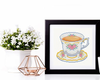 British Teacup Cross Stitch Pattern Instant Download Blossom Wall Art Modern Needlework Flower Teacup Gift Tea Time Tea Lover Present